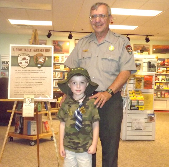 Fellow park rangers Bob Hamilton and Max Wallingford pose at the Panther Junction Visitors Center.