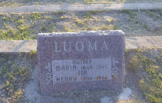 Maria Luoma and son Henry share a headstone at Philipsburg Cemetery on the north end of town.